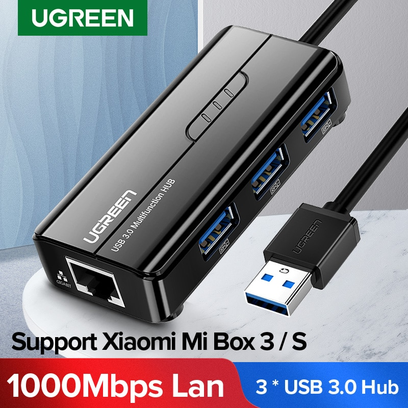 UGREEN 3 Ports Hub Network Card USB 3.0 Lan Gigabit Ethernet RJ45 Adapter to 1000Mbps