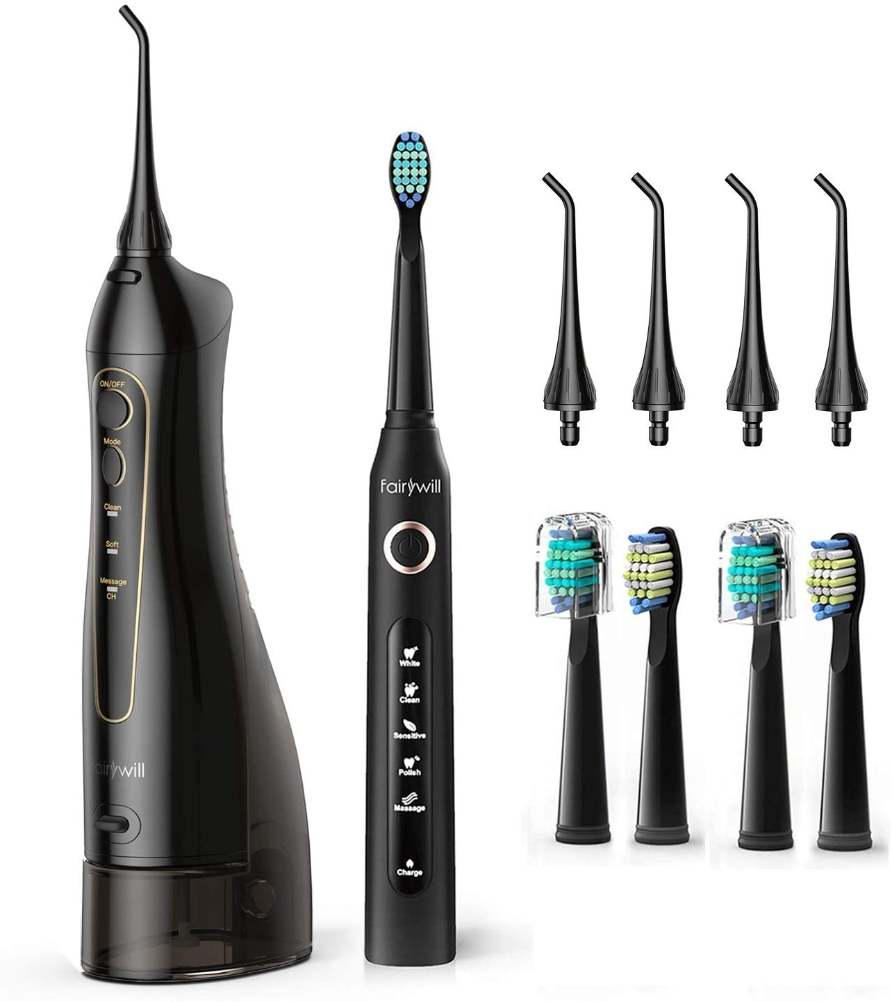 Fairywill Teeth Cleaner Set Water Flosser And Toothbrush Combo 5 Modes and 4 Brush Heads