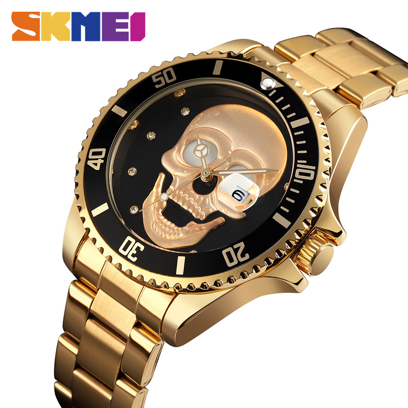 SKMEI 9195 Men Skeleton Design Quartz Watch Stainless Steel 30M Waterproof Watch