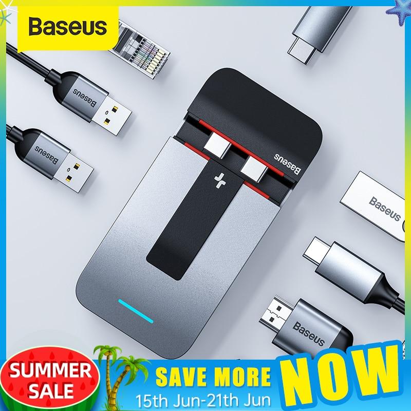Baseus RJ45 9 in 1 Splitter for MacBook USB C Hub To HDMI USB 3.0 Thunderbolt 3