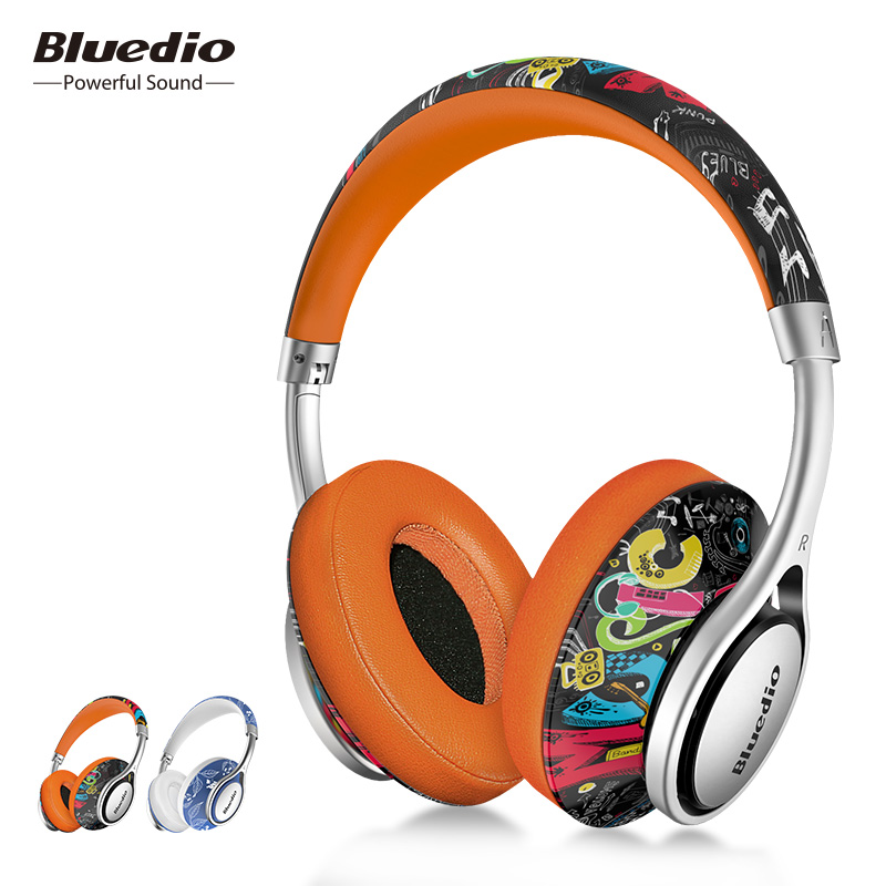 Bluedio A2 Air Bluetooth Headset Fashion Printed Wireless Headphones With Microphone