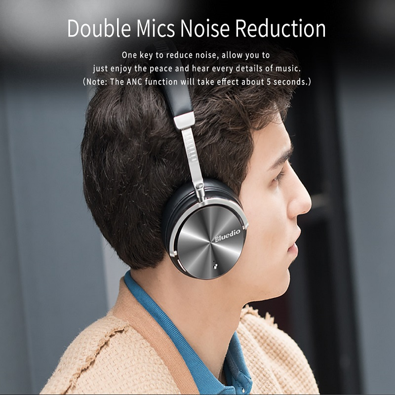 Bluedio T4S Active Noise Cancelling Bluetooth Headphones with Soft Memory-Protein Earmuffs Wireless Headset
