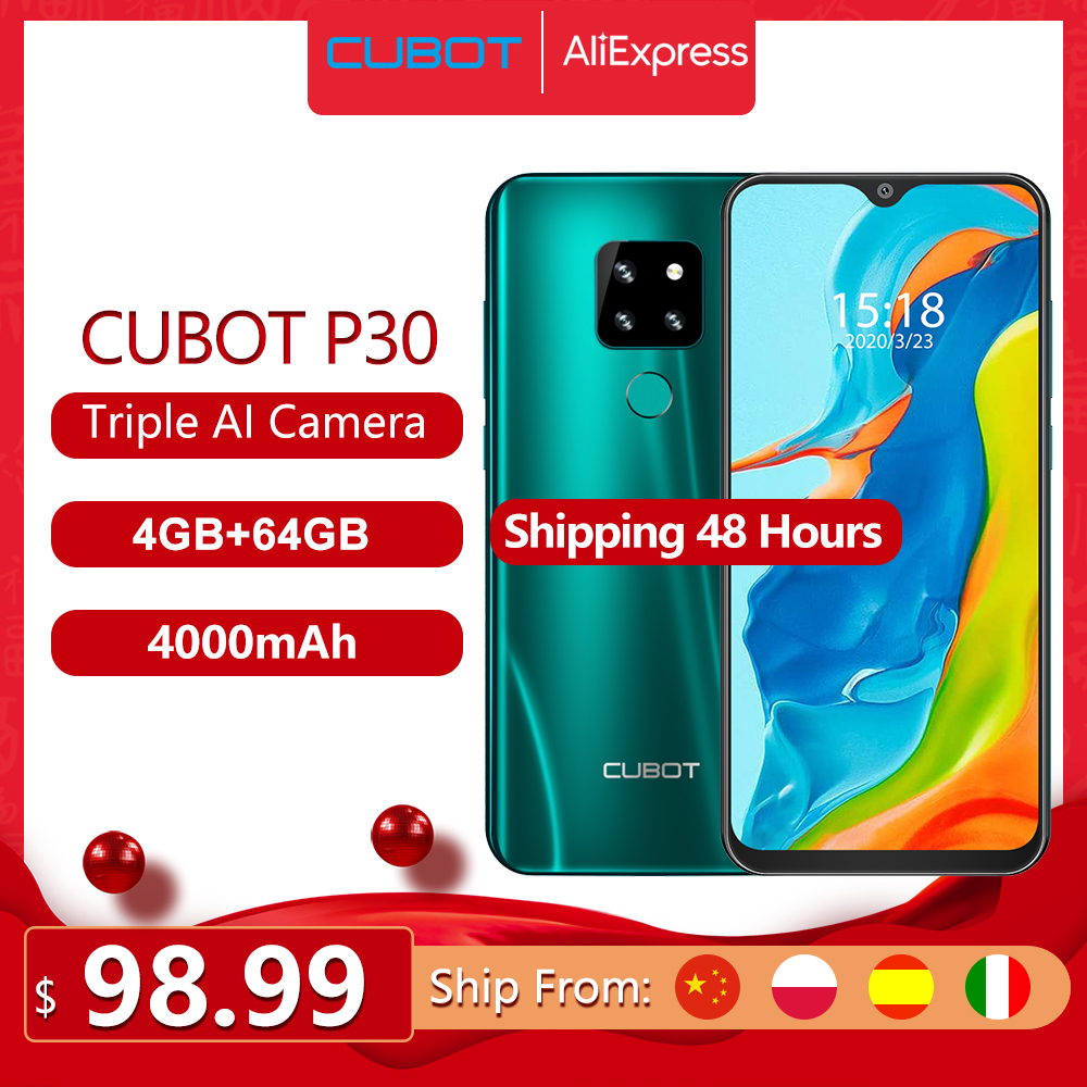 CUBOT P30 Face ID Fingerprint Recognition 4G Smartphone 6.3 inch Android 9.0 64GB Phone