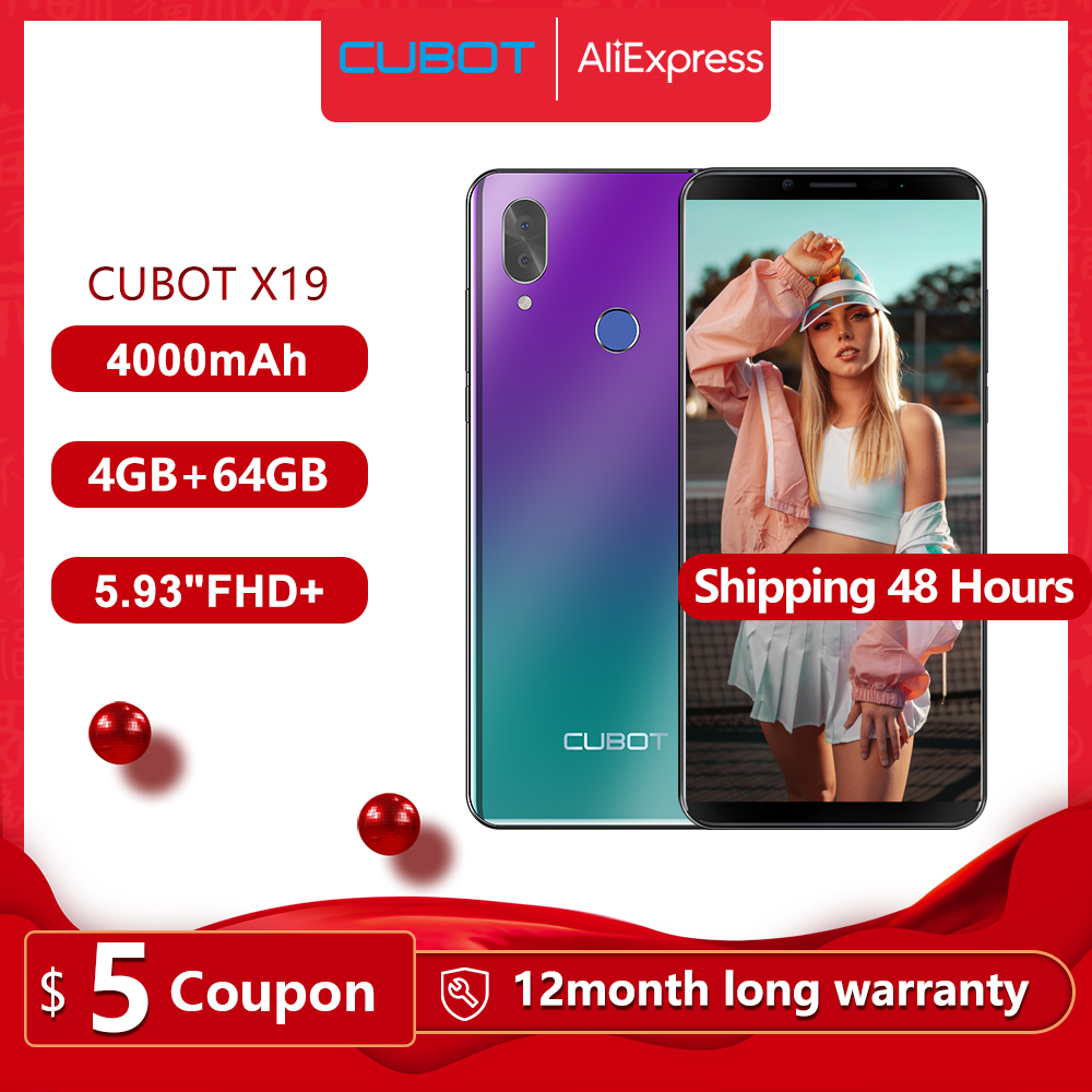 Cubot X19 4G Smartphone 5.93 inch 2160×1080 FHD+ Screen Face ID 64GB Phablet