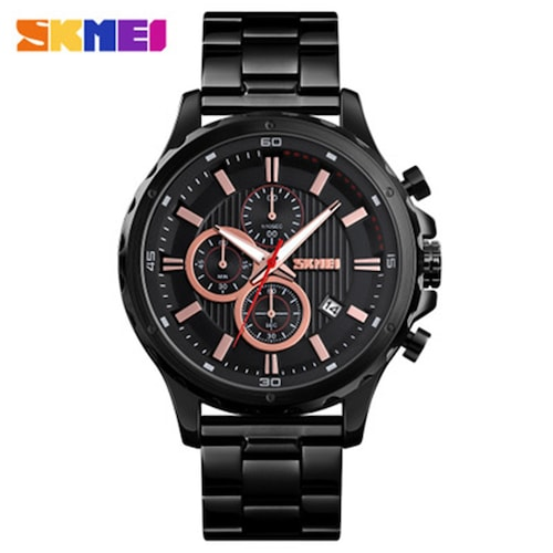 SKMEI 1551 Watch Mens Three-Hand Steel Band Large Dial Function Quartz Watch