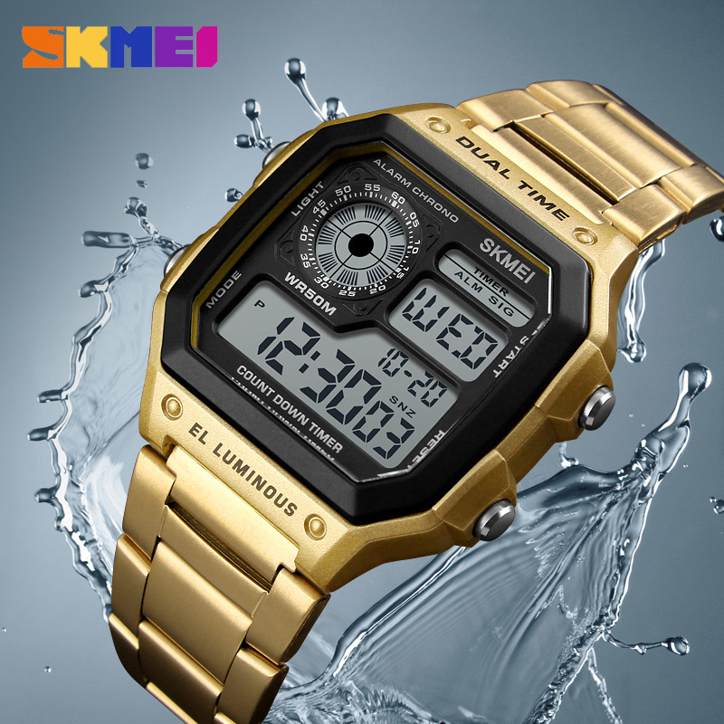 SKMEI 1335 Outdoor Waterproof Mens Watches Personality Square Digital Watch Men Clock