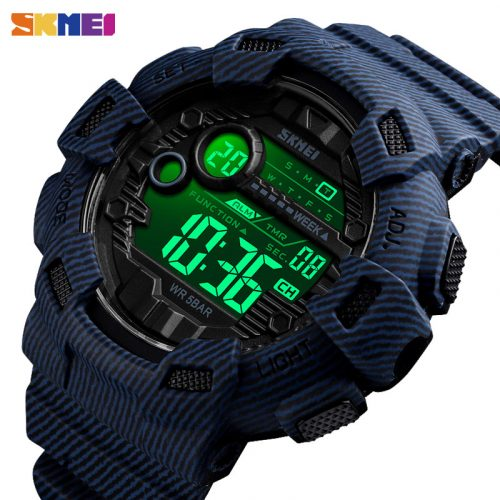 SKMEI 1472 Large Dial Men Electronic Sports Watch 50m Waterproof Military Sport Watch