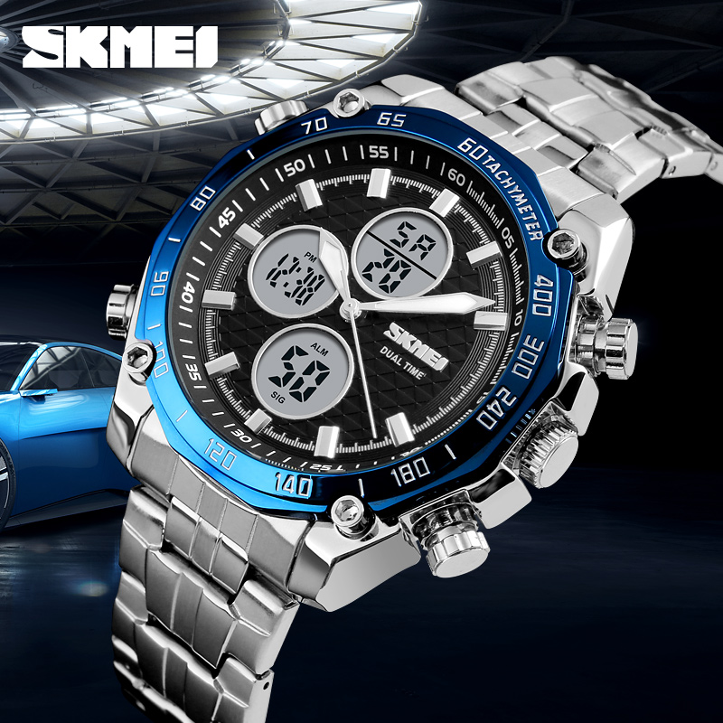 SKMEI 1302 Classic Business Watch 30M Waterproof Dual Display Quartz Men Watches