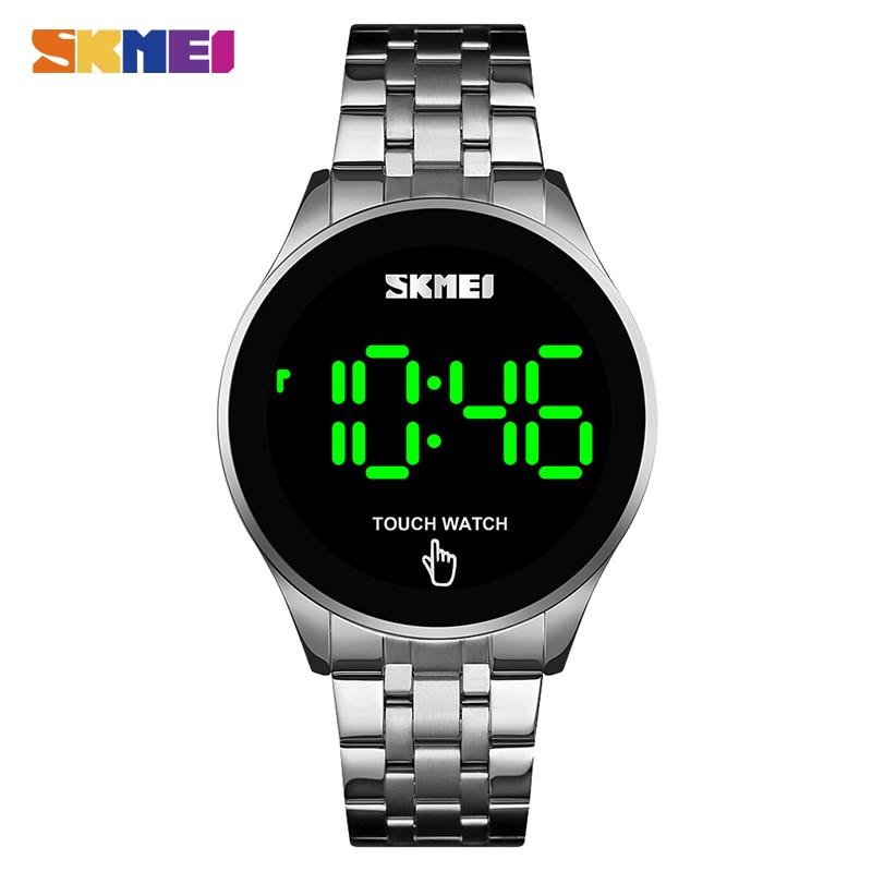 SKMEI LED 1579 Light Touch Screen Digital Watch 30M Waterproof Stainless Steel Watch
