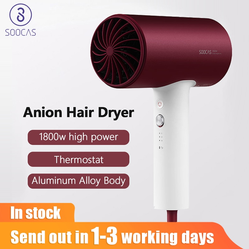 SOOCAS H3S Aluminum Alloy Body Massive Negative Ions Hair Dryer