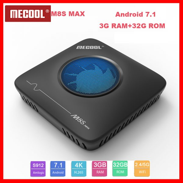 MECOOL M8S Max TV Box Android 7.1 Amlogic S912 3GB + 32GB 4K UHD Smart Set Top Box