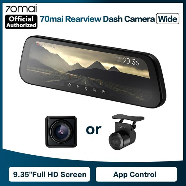 70mai D07 9.35 Inch Full Screen Rearview Dash Cam Wide 1080P Auto Cam 130FOV Stream Media Car DVR