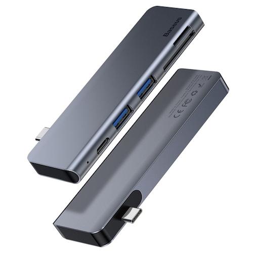 Baseus 5 in 1 Hub Adapter CAHUB-K0G Harmonica Style Multi-Ports Accessory for MacBook Laptops