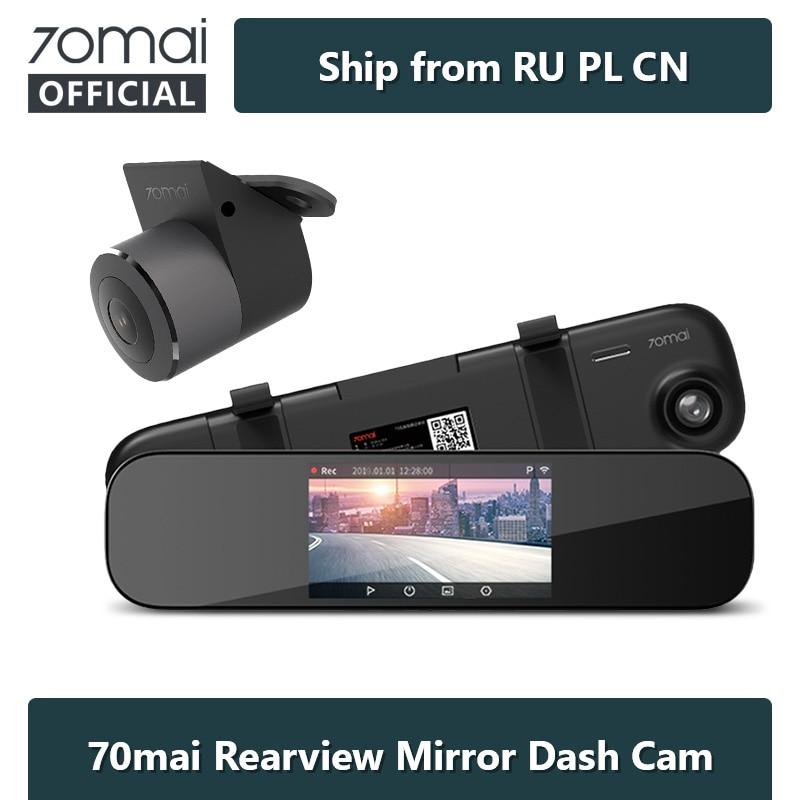 70mai D04 Dash Cam Mirror 5-inch 1600P Car DVR 24H Parking Night Vision Smart Rearview Mirror