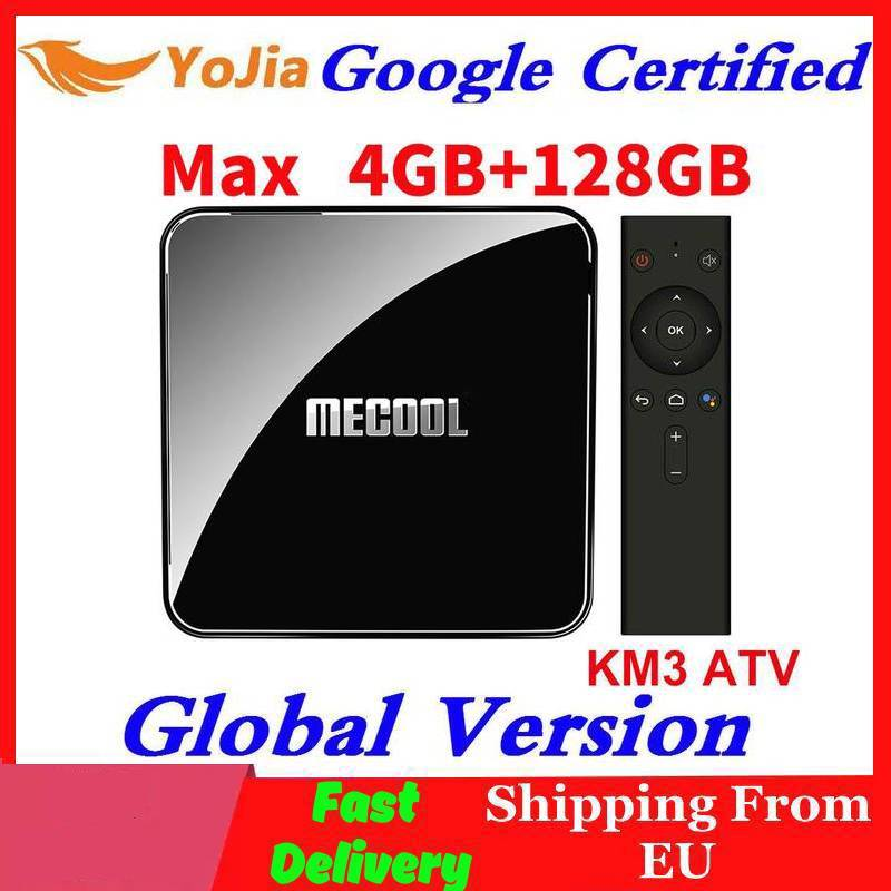 MECOOL KM3 ATV Google Certified LED Breathing Light TV Box with Voice Remote 4GB + 64GB 4K HDR Image
