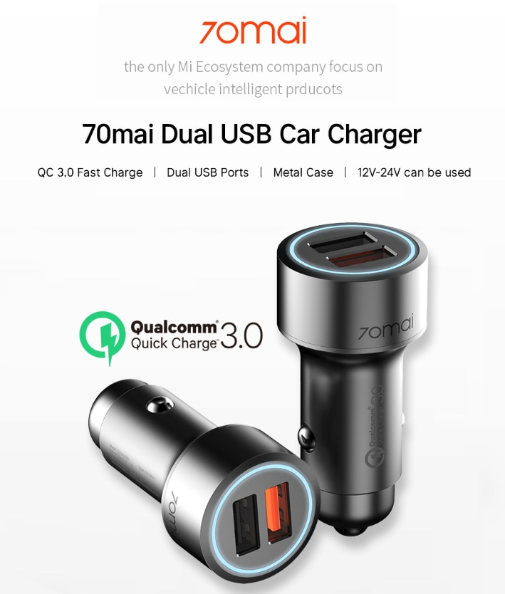 70mai QC USB 3.0 Fast Charge Dual USB Car Charger Metal Case  Android and iOS Phones Charger For Car