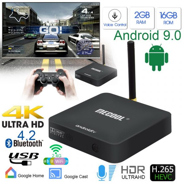 MECOOL KM8 Dolby Sound Google Certified Android 9.0 TV Box Voice Remote 16GB Media Player