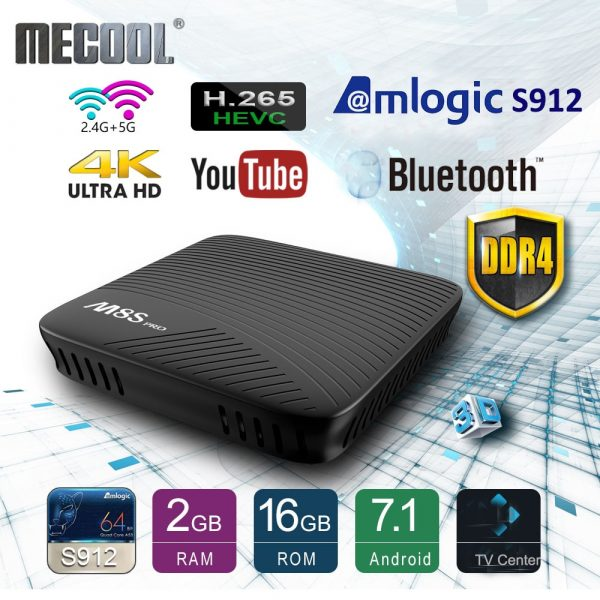 Mecool M8S PRO Android TV Box Google Play Preinstalled Miracast Media Streaming Sharing Box