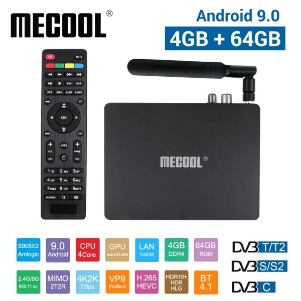 Mecool K7 TV Box 4GB + 64GB DDR4 Android 9.0 3D 4K 2.4G  + 5G WiFi USB3.0 Set Top Box