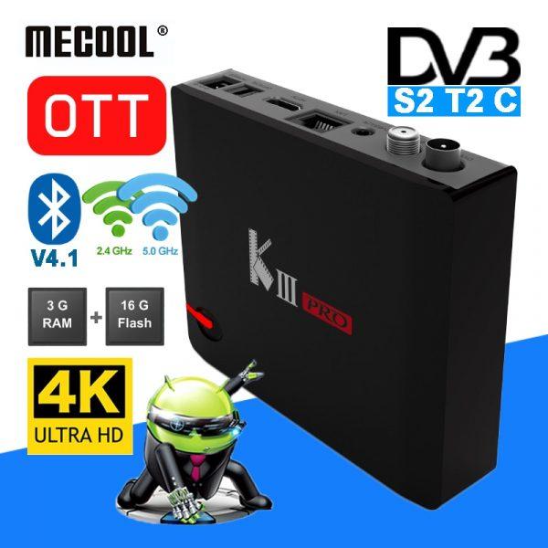 MECOOL KIII PRO Hybrid DVB TV Box Satellite Receiver 4K Decoding 2.4G + 5G Dual Band WiFi BT 4.0 Set Top Media Player