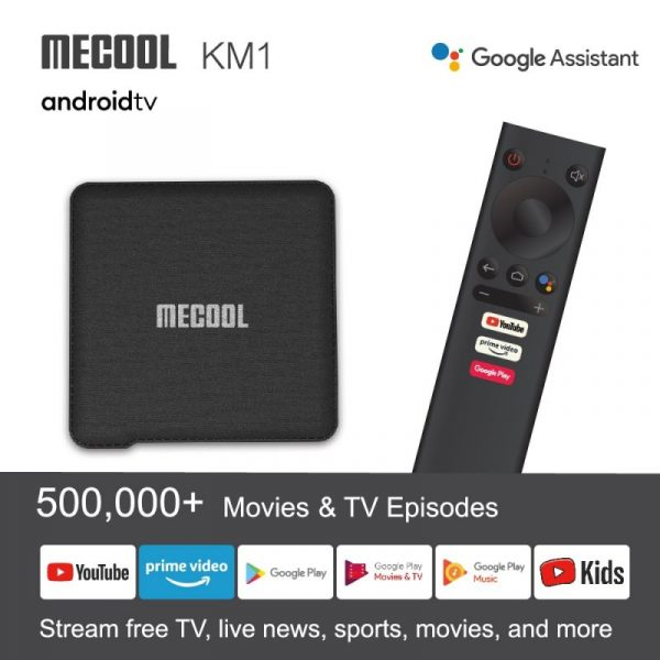 MECOOL KM1 Google Certified TV Box Smart Voice Remote 100Mbps Media Streaming Box