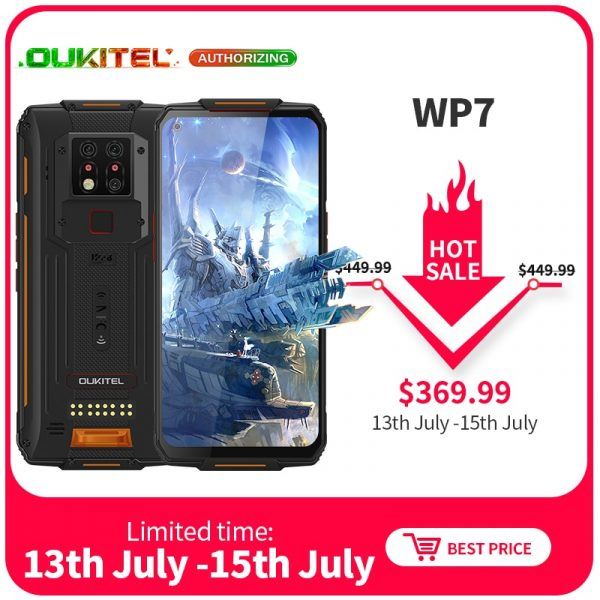 OUKITEL WP7 Global Version Waterproof Rugged Phone 6.53-inch FHD+ NFC 48MP Triple Camera 128GB Helio P90 4G Smartphone