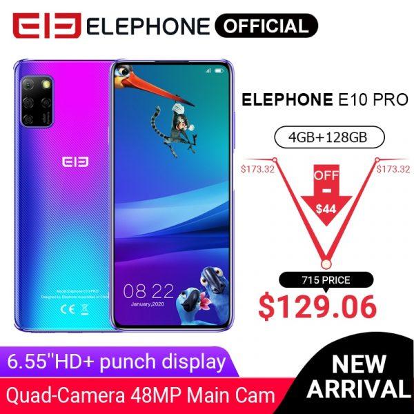 Elephone E10 Pro 4G Smartphone 6.55-inch 48MP 13MP 2MP 5MP Quad Rear Cameras Global Version Phone