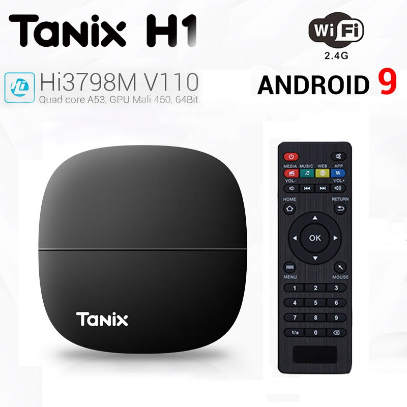 Tanix H1 Smart 4K TV Box with HiSilicon Hi3798M V110 60fps Android 9.0 Google Player Youtube Netflix
