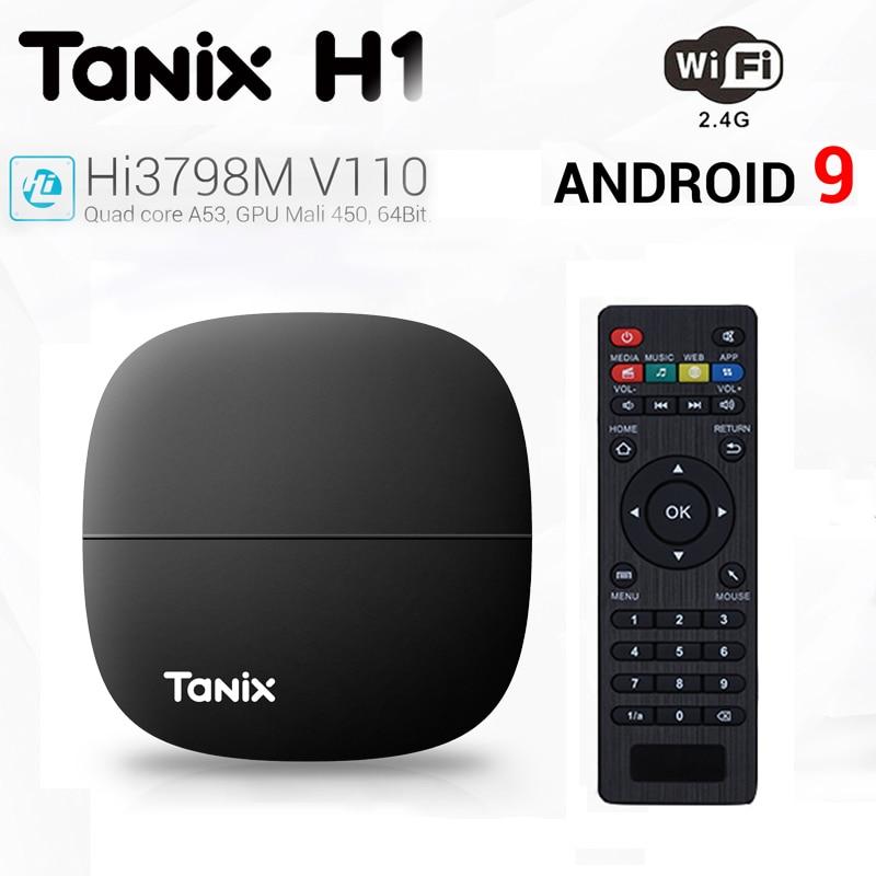 Tanix H2 Smart TV Box HiSilicon Hi3798M V130 Android 9.0 2.4GHz WiFi 4K 60fps Media Streaming Top Set Box