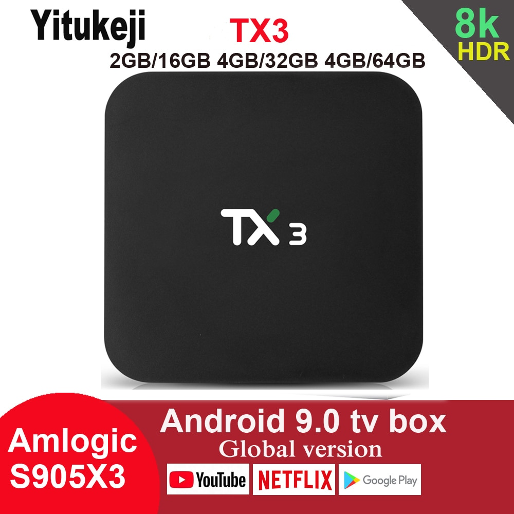 Tanix TX3 Android 9.0 TV BOX 8K HDR 2.4G/5GHz Dual Wifi Smart Boxes Media Player Set Top Box