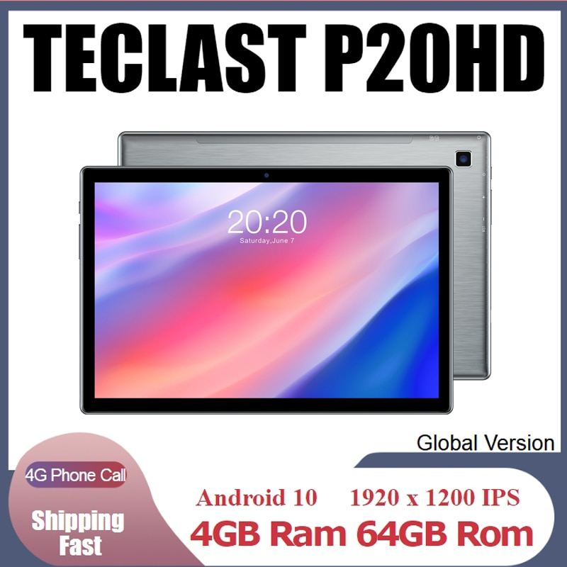 TECLAST P20HD 10.1-inch 4G Tablet PC Android 10 GPS Phone Call Eight-core 1.6GHz 64GB Tablet