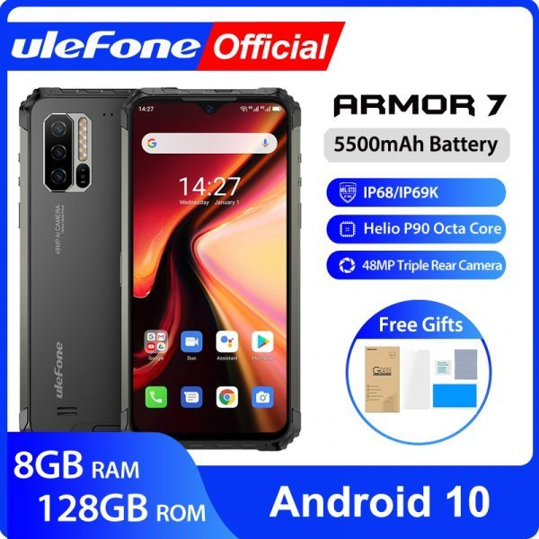 Ulefone Armor 7 Global Version 4G Smartphone 6.3″ Helio P90 Octa Core 2.2GHz 128GB Waterproof Rugged Phone