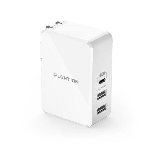 LENTION 070PD Fast Charging USB-C Dual USB-A Ports Home & Travel 45W Charger for Mobile Devices