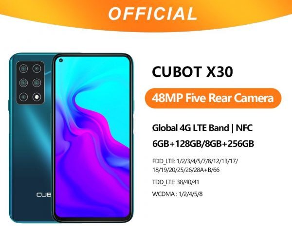 Cubot X30 Smartphone 48MP Five Cameras 8GB+256GB NFC 6.4-inch FHD+ Full View Display Global Version Phone