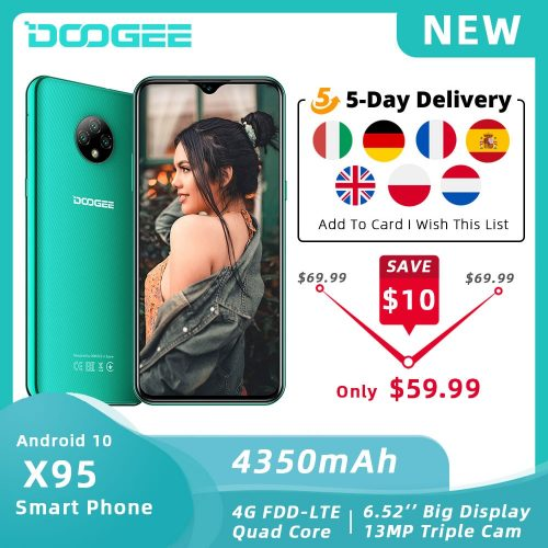 DOOGEE X95 Global Smartphone 6.52-inch 16GB ROM Dual SIM Triple Camera Android 10 OS 4G LTE Budget Phone