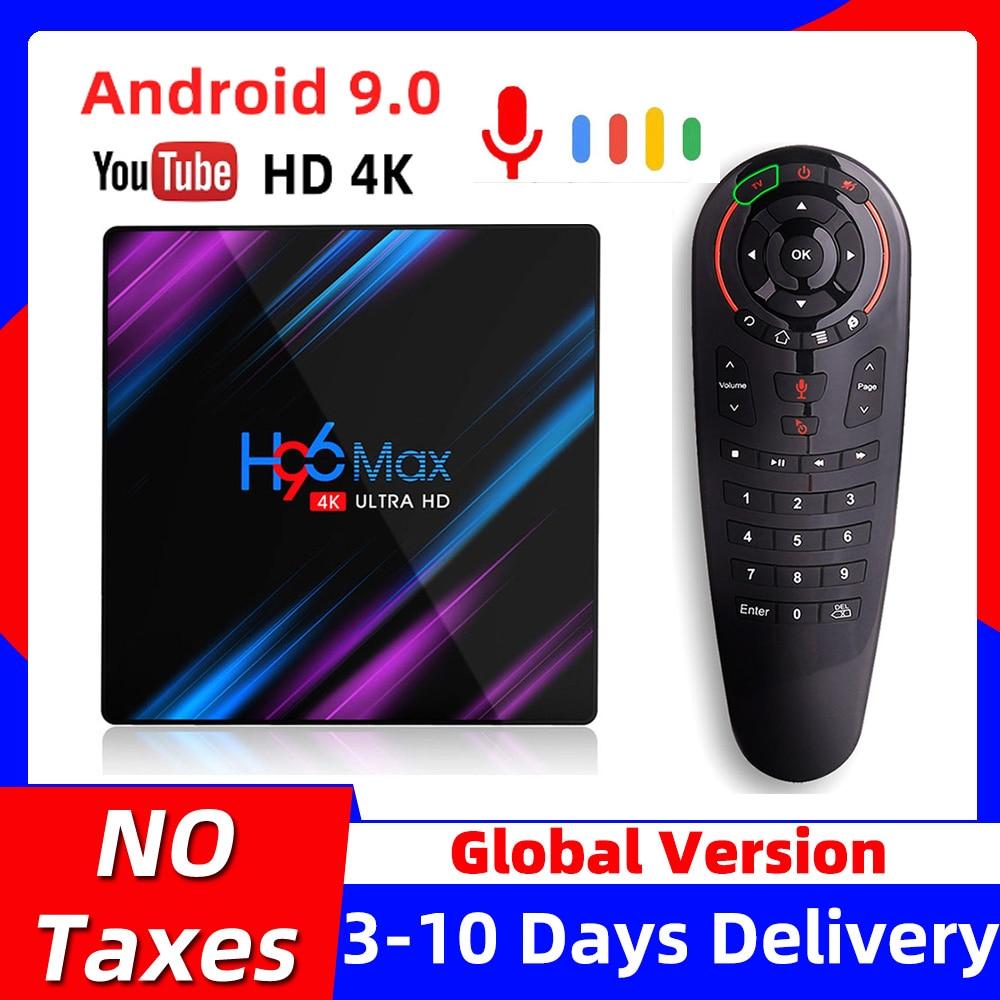 H96MAX Android 10 Voice Control TV Box RK3318 Quad Core 2.4G/5.8G 4K Media Player Mini Set Top Box
