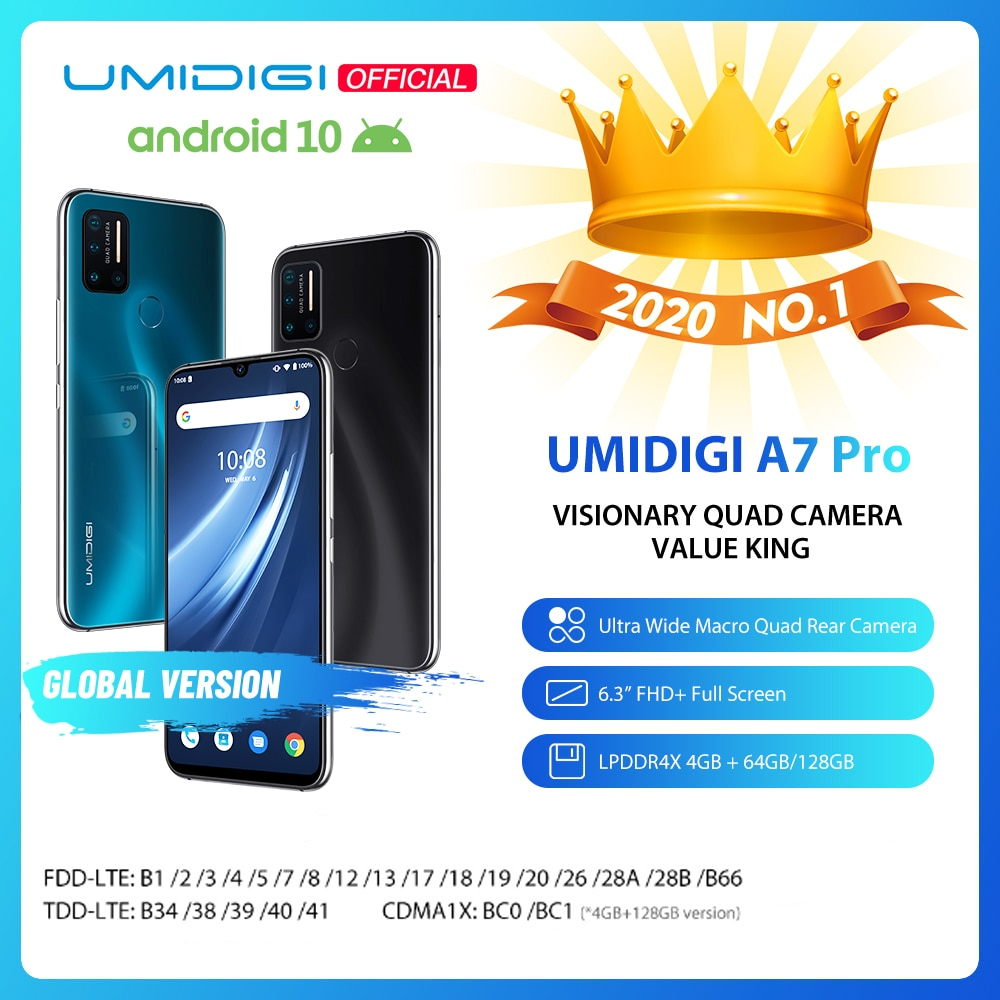 UMIDIGI A7 Pro 6.3-inch FHD+ Full Screen Smartphone 64GB-128GB ROM Global Version Phone