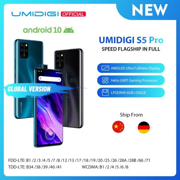 Best Selling UMIDIGI S5 Pro Helio G90T Gaming Processor FHD+ 6.39″ Screen Pop-up Selfie Camera Smartphone