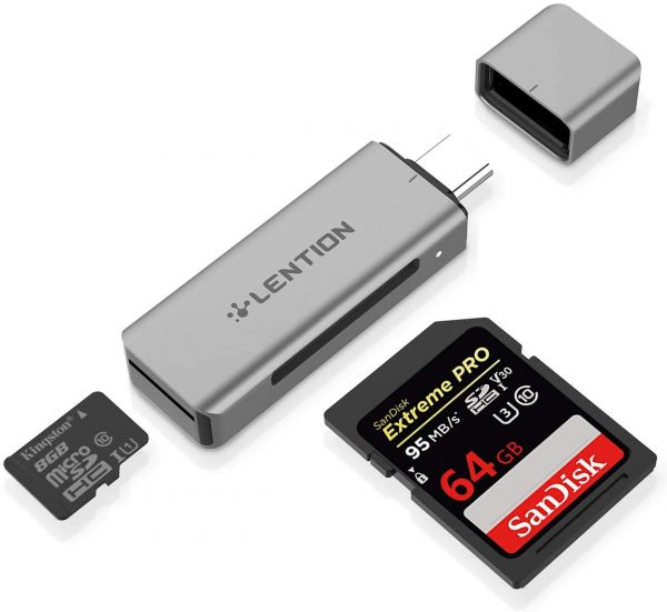 LENTION C7 Star Speed Series Card Reader USB C to SD Micro SD Type C Dual Memory Card Adapter