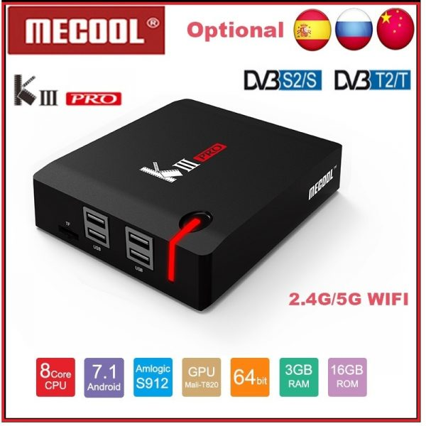 Mecool KI Pro DVB T2+S2 Android TV Box 3GB 16GB 4K Decoding 2.4G + 5G Set Top Media Player
