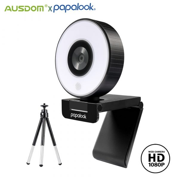 AUSDOM PA552 Webcam Fixed Focus USB HD 1080P Web Camera with Microphone Light Tripod for PC