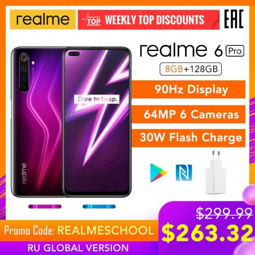 Realme 6 Pro 6.6-inch 4G Smartphone 8GB RAM 128GB ROM Flash Charge 64MP Camera Global Version Phone