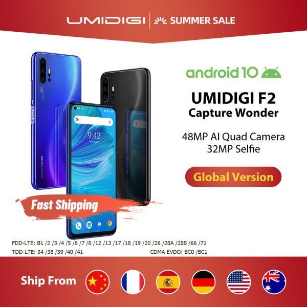 UMIDIGI F2 Global Bands 6.53″ FHD+ Screen 6GB + 128GB 48MP AI Quad Camera 32MP Selfie Smartphone