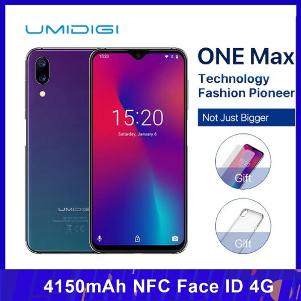 Umidigi One Max 4G Smartphone 4GB 128GB 6.3-inch 16MP+12MP 4150mAh NFC Face ID Phone