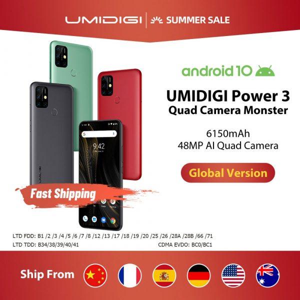 Umidigi Power 3 Smartphone 6.53-inch FHD+ Screen 6150mAh battery 4GB 64GB Global Version NFC Phone