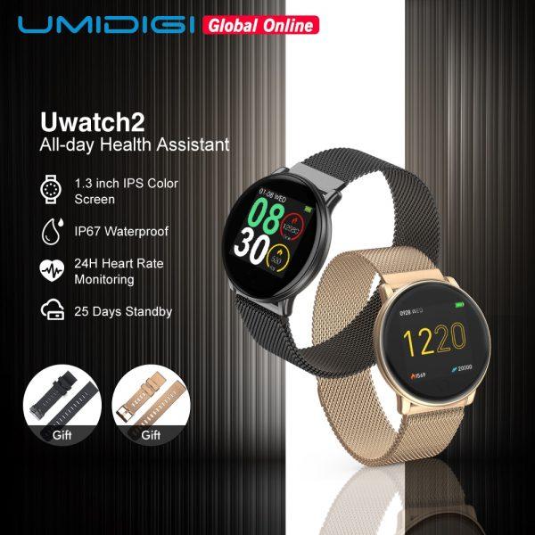 UMIDIGI Uwatch2 Full Touch Screen Smartwatch Entire Steel Body 24h Heart Rate Sports Mode Smart Watch