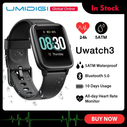 UMIDIGI Uwatch3 SmartWatch 1.3-inch Full Touch Screen 5ATM Waterproof 9 Sport Modes Long Standby Fitness Tracker