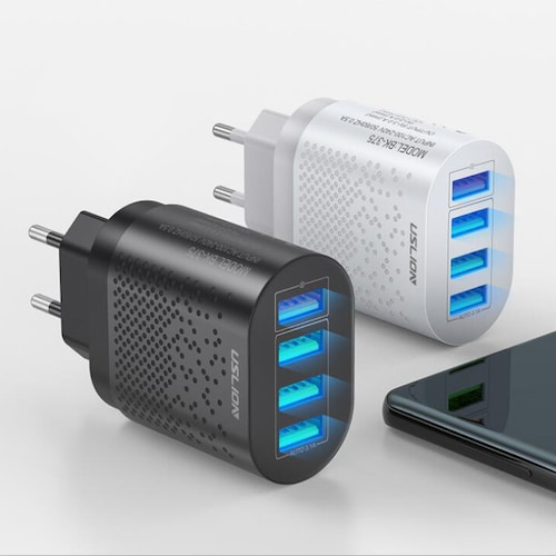USLION EU/US Quick Charge 3.0 USB Wall Charger 5V 3A 48W 4 Ports QC3.0 Fast Charging Power Adapter