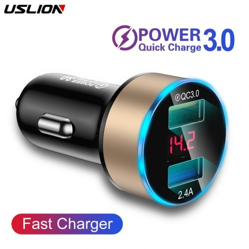USLION USB Quick Car Charger For Mobile Phone Universal Dual USB digital Screen Adapter For Car