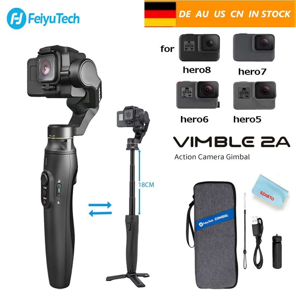 Feiyu Vimble 2A FeiyuTech Action Camera Gimbal Handheld Stabilizer with 180mm Extension Pole